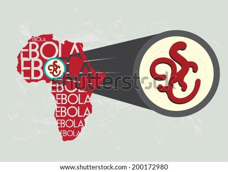 Ebola Virus in Africa Magnified Bigger - stock vector