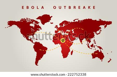 ebola world outbreak graphic propagation - stock vector
