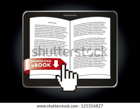 ebook download over black background. vector illustration