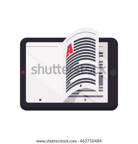 ebook tablet online reading internet icon. Isolated and flat illustration. Vector graphic
