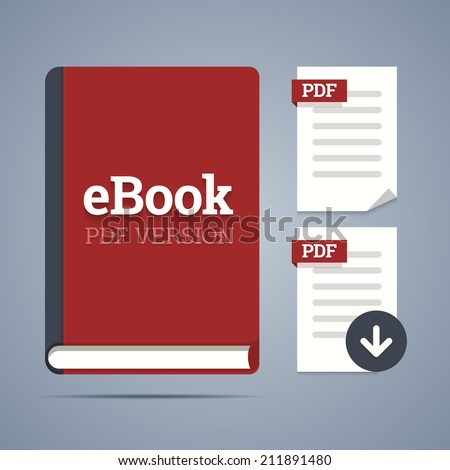 eBook template with pdf label and pdf page icons with download. Vector illustration. - stock vector
