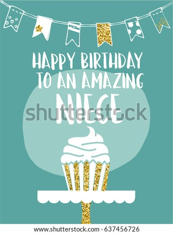 E card greeting card happy birthday amazing stock vector 637456726 ecard greeting card happy birthday amazing niece hand drawn green white design with golden glitter m4hsunfo