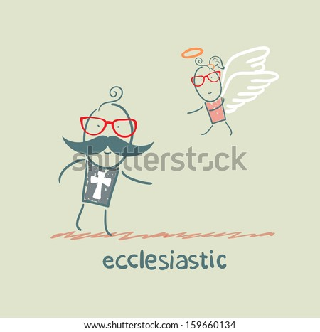ecclesiastic looking at an angel - stock vector