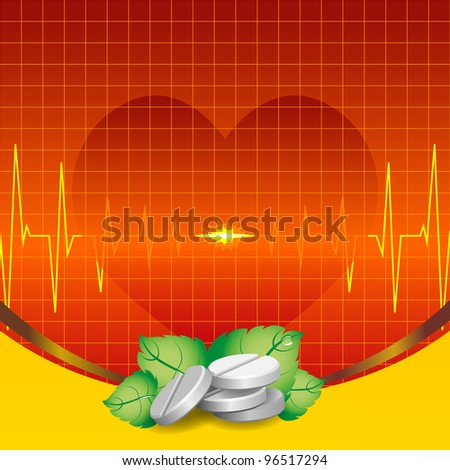 ECG and cardiac silhouette on a red background. Tablets ecology. - stock vector