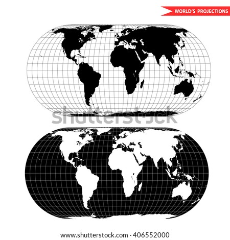 eckert world map projection. Black and white world map vector illustration. - stock vector