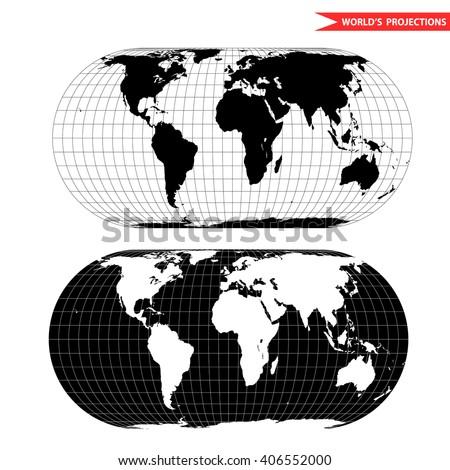 Eckert world map projection black white stock vector hd royalty eckert world map projection black and white world map vector illustration gumiabroncs Choice Image