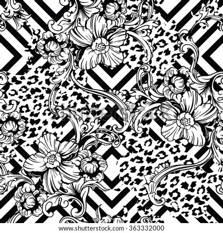 Eclectic fabric seamless pattern. Animal and geometric background with baroque ornament. Vector illustration - stock vector