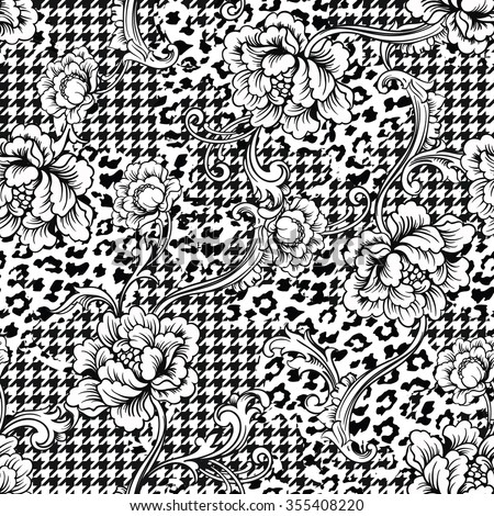 Eclectic fabric seamless pattern. Animal and plaid background with baroque ornament. Vector illustration - stock vector