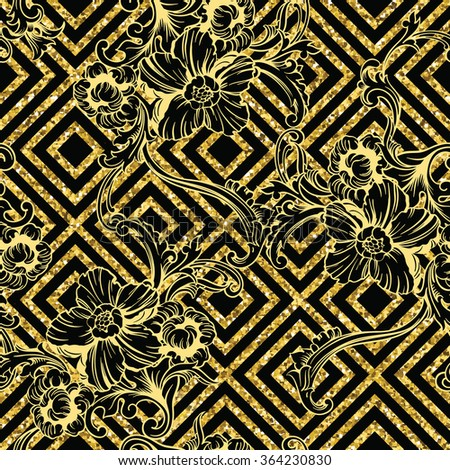 Eclectic fabric seamless pattern. Geometric glitter background with baroque ornament. Vector illustration - stock vector