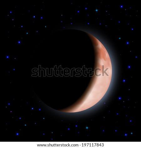 Eclipse of the planet on the black background with stars