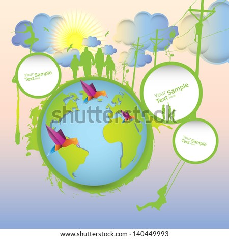 Eco abstract background with peoples