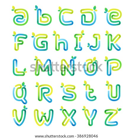Eco Alphabet Letters Leaves Font Style Stock Vector 386928046 ...