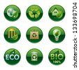 eco and bio round buttons set - stock vector