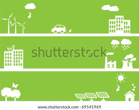 Eco and environment friendly green towns - stock vector