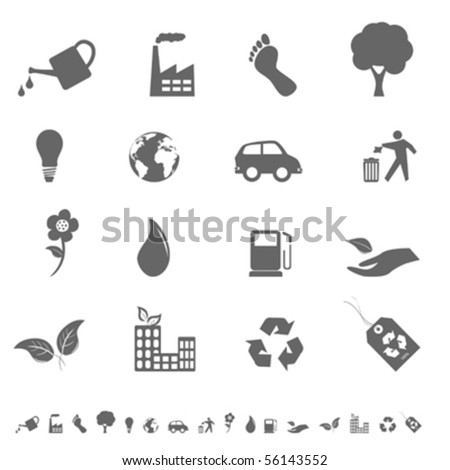 Eco and environment icons and symbols - stock vector