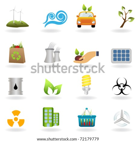 Eco and green environment icons - stock vector