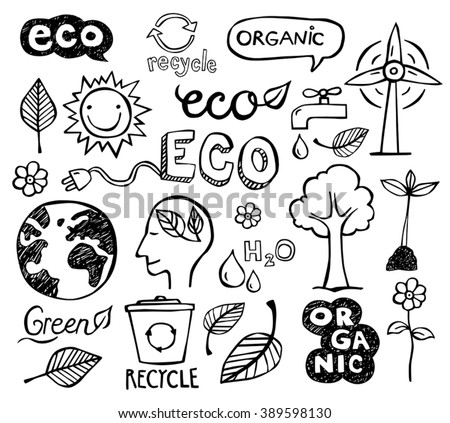 Eco and organic doodles - icons. Ecology, sustainable development, nature protection. - stock vector