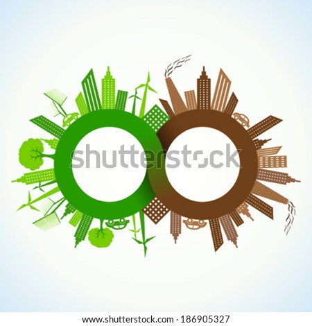 Eco and Polluted city around infinity symbol stock vector