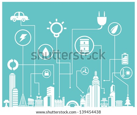 eco and save energy info graphic, background - stock vector