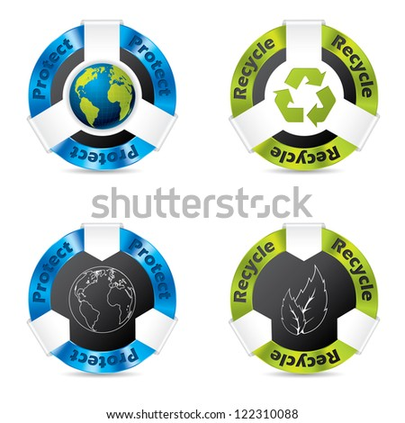 Eco badge designs for earth and nature protection - stock vector