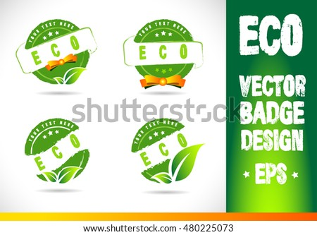 Eco Badge Logo label seal stamp logo text design green leaf template vector eps
