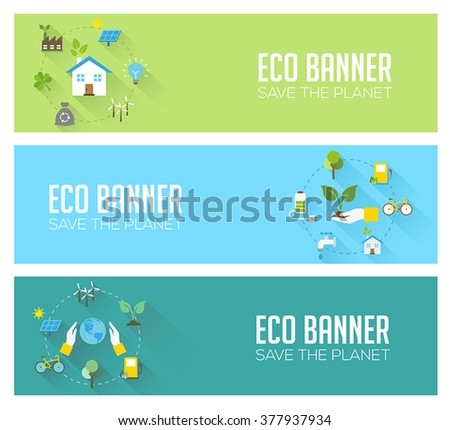 Eco banners - ecology, renewable energy, nature protection, sustainable development. Modern flat design style, vector concept. - stock vector