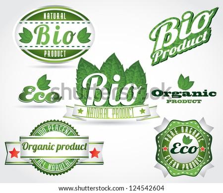 eco bio natural logos - stock vector