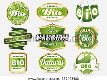 eco bio natural logos in vintage style