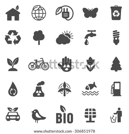 Eco black  icons set .Vector - stock vector