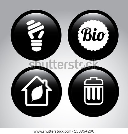 eco bubbles over gray background vector illustration  - stock vector