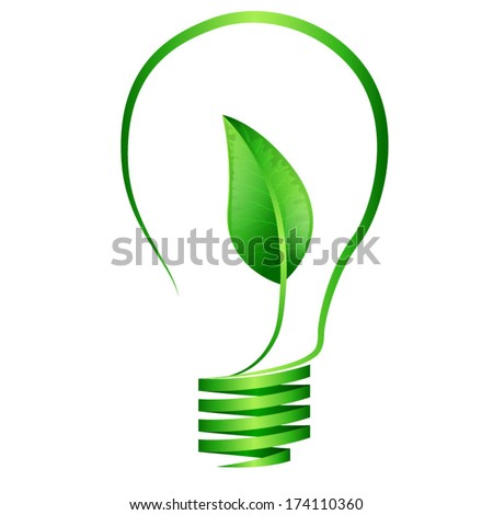 Eco Bulb with green leaf