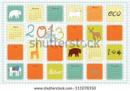 eco calendar for the year 2013 - stock vector