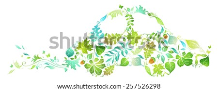 ECO car. Green car from leaves isolated on white background. - stock vector