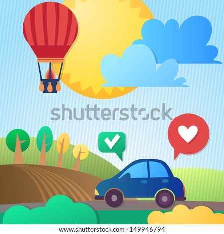 Eco car on the road. The car rides on the fields. Hot air balloon and clouds in the sky, the earth and the trees on the background - stock vector