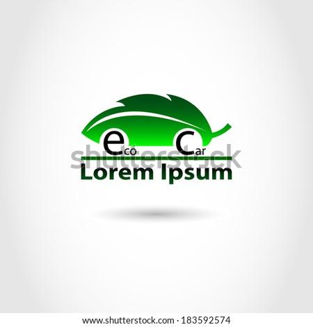 Eco Car Symbol. Vector Model. - stock vector
