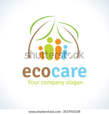 Eco care logo, nature conservation, eco friendly, renewable, sustainability, nature loving,home and family logo,Vector Logo Template. - stock vector