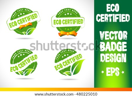 Eco Certified Badge Logo badge label seal stamp logo text design green leaf template vector eps