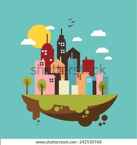 eco-city day illustration - stock vector