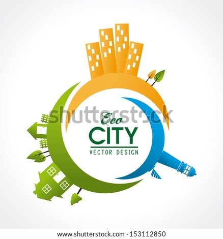 eco city design over white  background vector illustration - stock vector