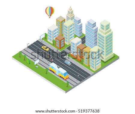 Eco city design. Sustainable, clean town with skyscraper buildings houses, road, traffic system, air balloon. Modern architecture. Office apartment and nature. Part of series of city isometric. Vector