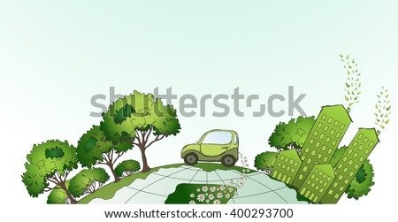 Eco city illustration, vector - stock vector