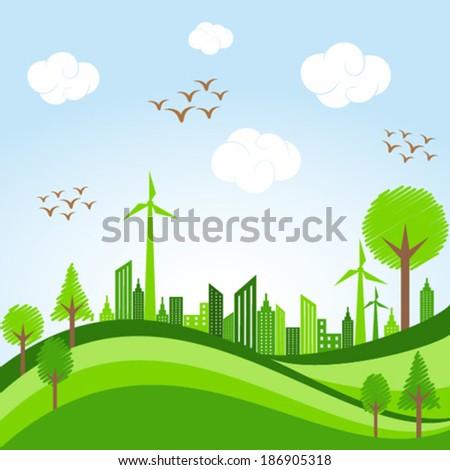 Eco cityscape -go green concept stock vector  - stock vector