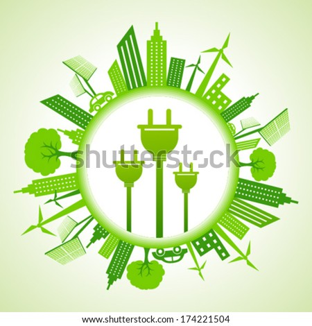Eco cityscape with electric plug stock vector - stock vector