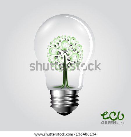 Eco concept - A light bulb with tree inside - Vector illustration