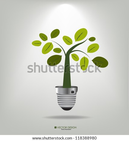 Eco concept: A light bulb with tree. Vector illustration. - stock vector