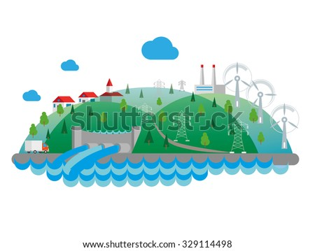Eco concept flat illustration. Hydro power plant. - stock vector