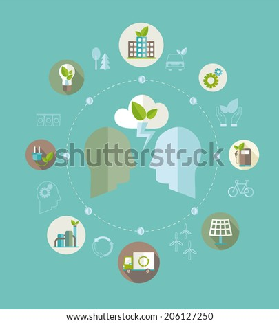Eco concept. Globe with earth, nature, green, recycling, bicycle, car and home icon. Vector illustration.  - stock vector