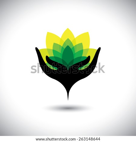 eco concept graphic of girls hand with fresh vibrant leaves - vector icons. This also represents beauty business, rejuvenation & healing spas, luxury resorts, alternative therapy, nature conservation - stock vector