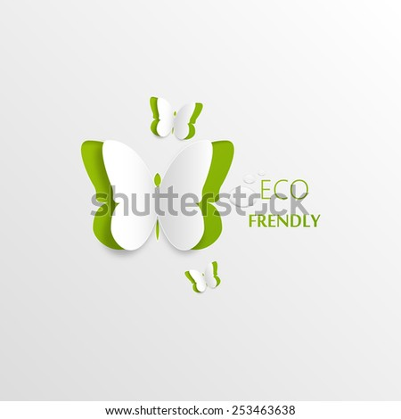Eco concept - green butterfly cut the paper - abstract background - stock vector