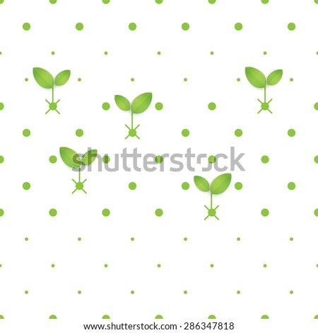 Eco concept - Green dot seamless pattern on white with abstract leaf - Vector design concept - stock vector